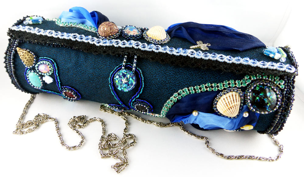 Handtasche, Abendtasche, Clutch, Bead Embroidery, Resin