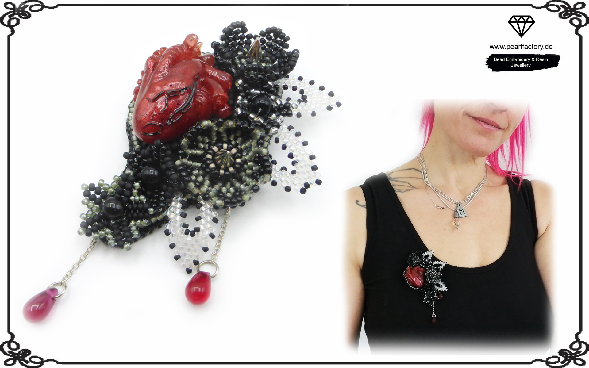 Eye-catching gothic brooch with a resin replica of a human heart.