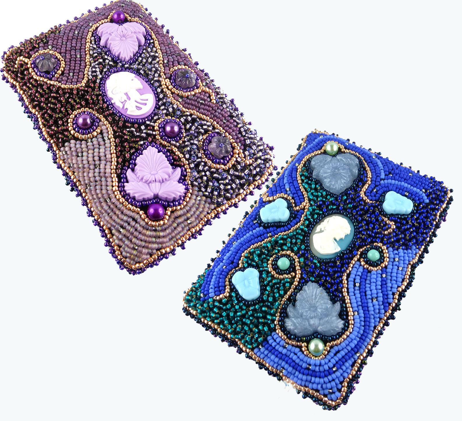 Etui, Visitenkartentasche, Ausweistasche, Bead Embroidery