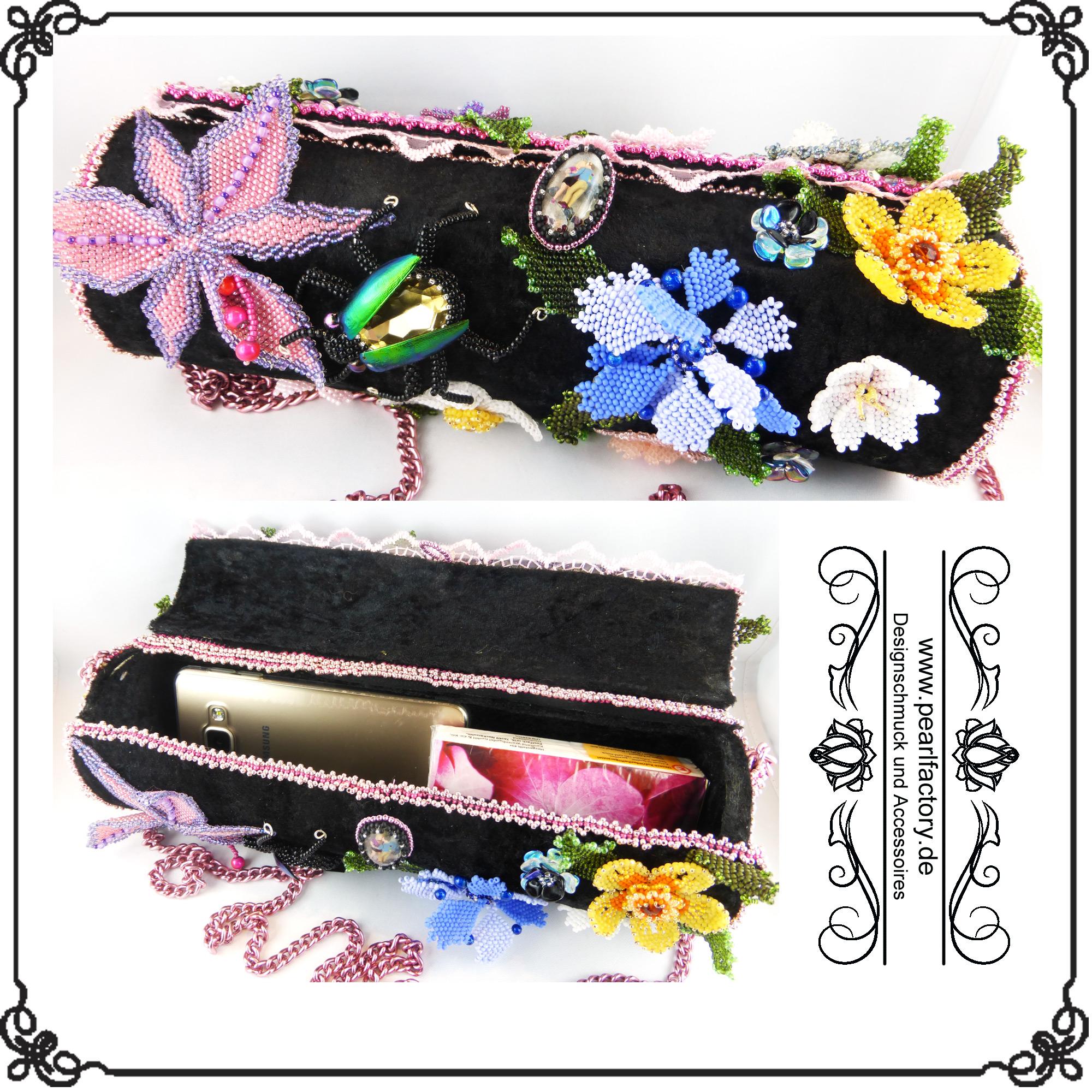 Damen Handtasche Blumen Bead Embroidery