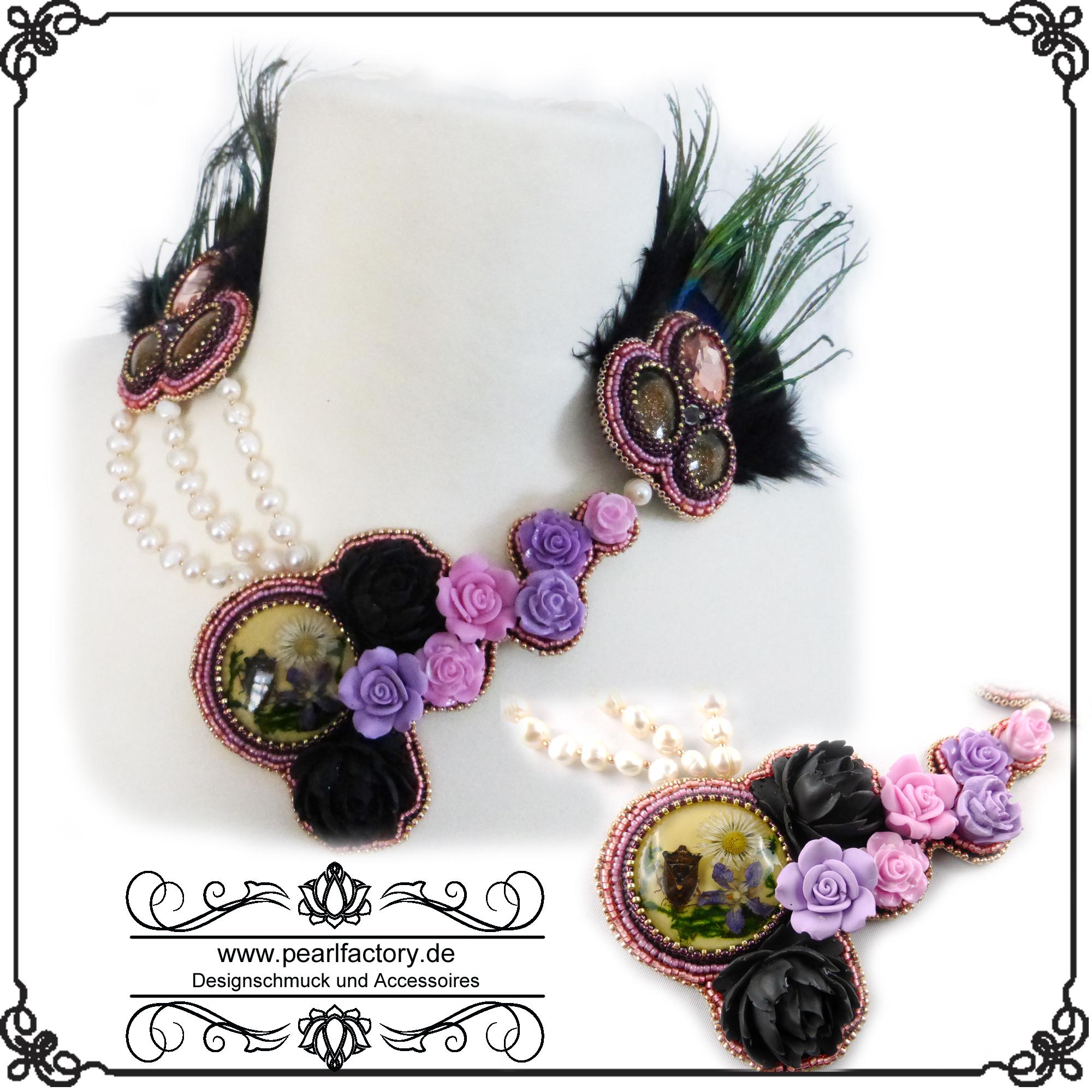 Echte Pfauenfedern Perlenkunst Halskette