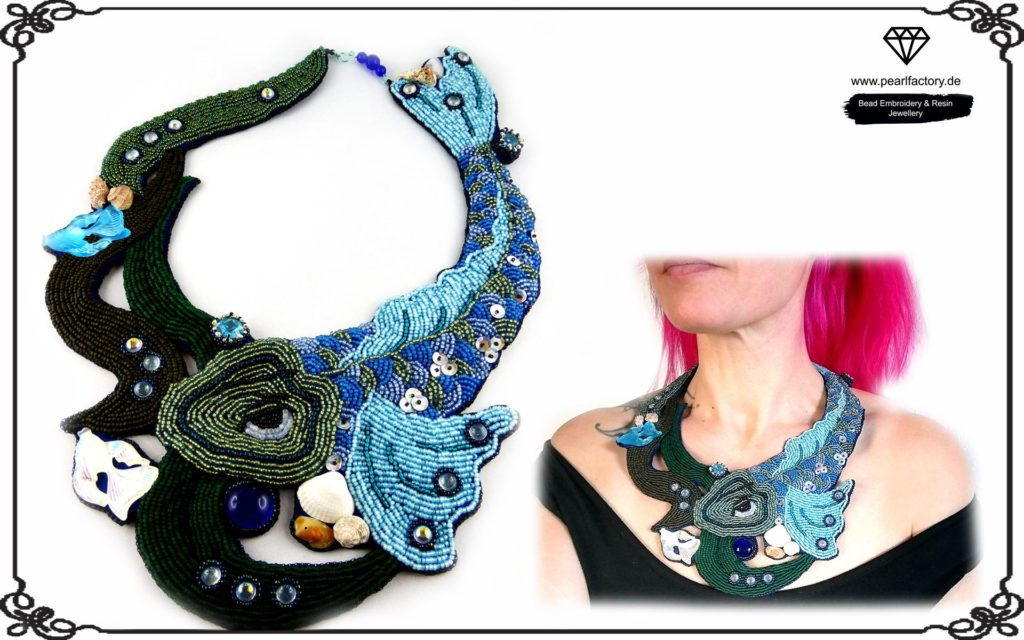 Bead Embroidery Necklace with Fish