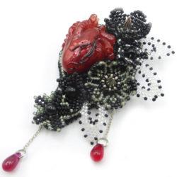goth resin realistic heart brooch