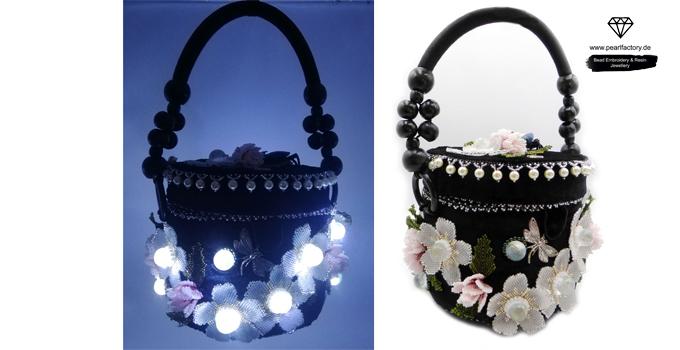 runde handtasche mit led licht und blumen