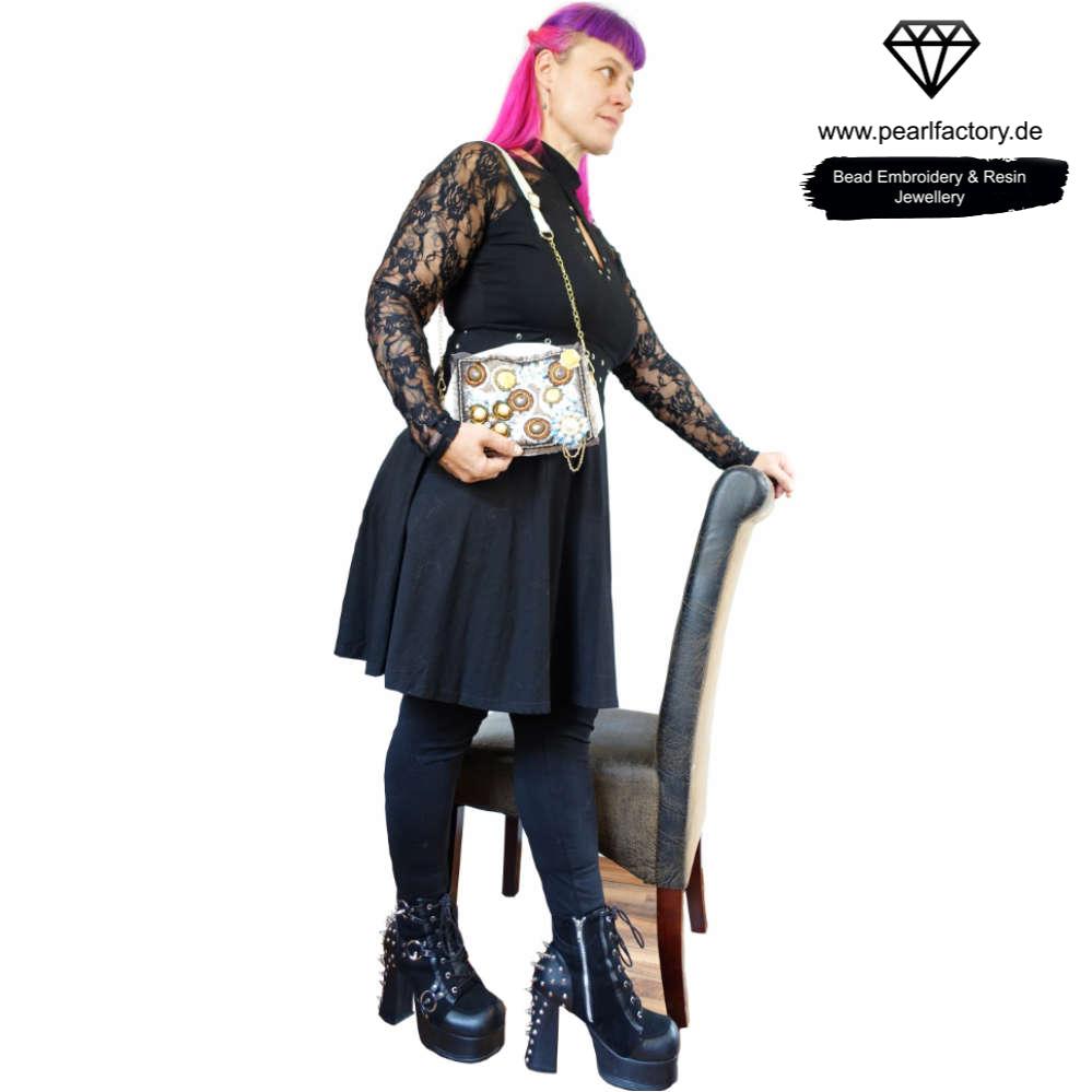 Kleine Leder Handtasche für Damen, Tasche mit Kettenhenkel